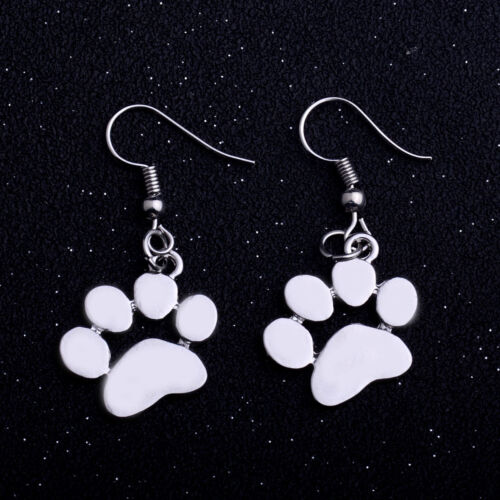 Silver Gold Paws Print Ring Pendant Necklace Charms Jewelry Dog Cat Pet Earring