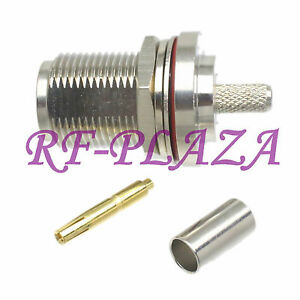 1pce Connector N female jack bulkhead crimp RG58 RG142 LMR195 RG400 RF COAXIAL