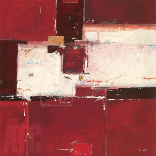 "39W/""x39H/"" RED I by RON VAN DER WERF VIVID WINE RUBINE PATCH ABSTRACT CANVAS"