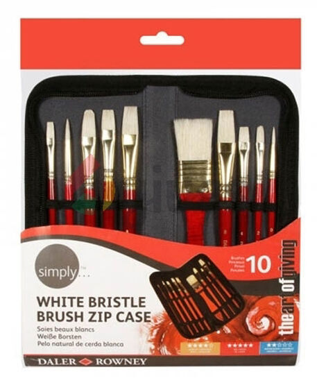 Daler Rowney Artist Brush Zip Up Case & 10 Hog Paint Brushes for Oil Painting