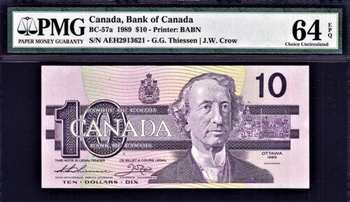 Canada 10 Dollars 1989 AEH BC-57a Pick-96a Ch UNC PMG 64 EPQ