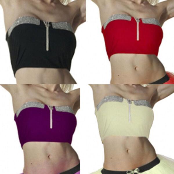 2e4fb81a2e7 Womens Plain Sequin BoobTube Strapless Bandeau Stretch Vest Bra Crop Top  8-14