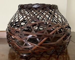 Japanese-Woven-Bamboo-Ikebana-Flower-Vessel-Basket-10-034-w-6-h-Bought-Belize-2004