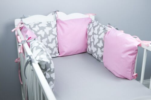 PILLOW BUMPER made form 6 cushions for cot// cot  bed GREY BUTTERFLIES BABY PINK