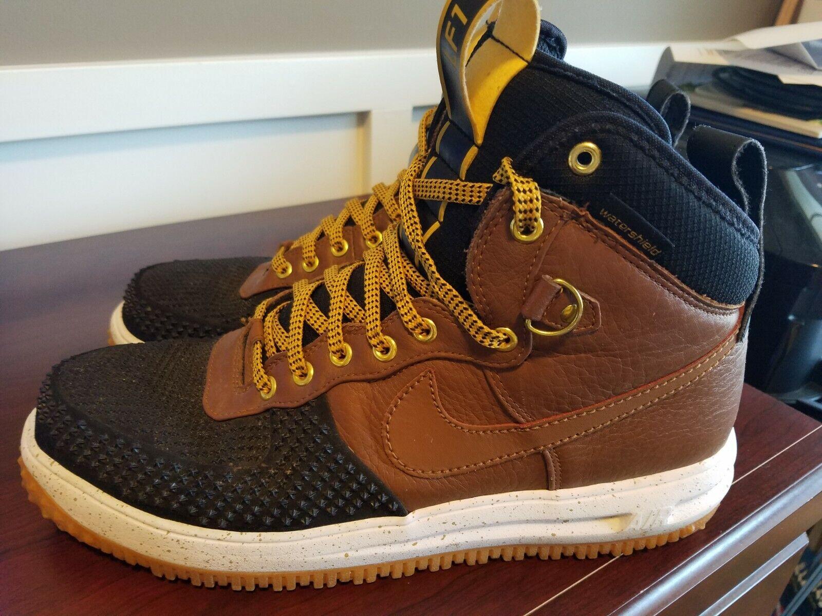 Nike Lunar Air Force One 1 Duckboot Tan Black 805899 004 Men's Size 13