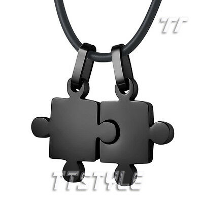 TT Black Stainless Steel Puzzle Pendant For Couple Two Free Chain (NP213D)
