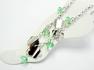 11-034-Silver-Green-Crystal-Flower-Anklet-Body-Jewelry