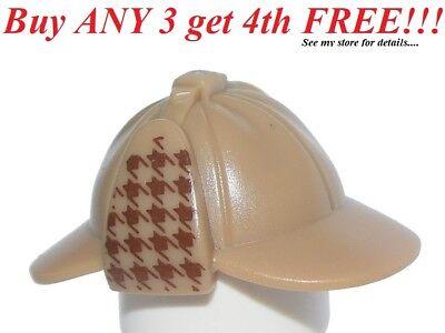 Lego Dark Tan Minifig Headgear Hat Deerstalker Dark Red Houndstooth Check