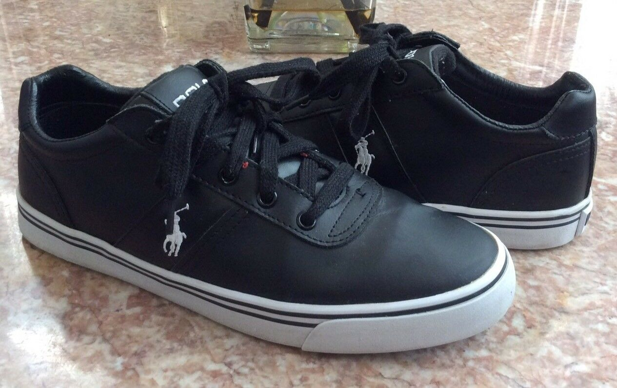 POLO Ralph Lauren Hanford Men's Black Leather Fashion Sneakers Size 9.5D EUC