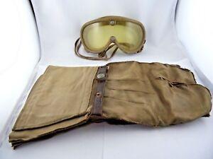 Motorrad-Handschuhe-und-Brille-WKII-Kradbrille-Pilotenbrille