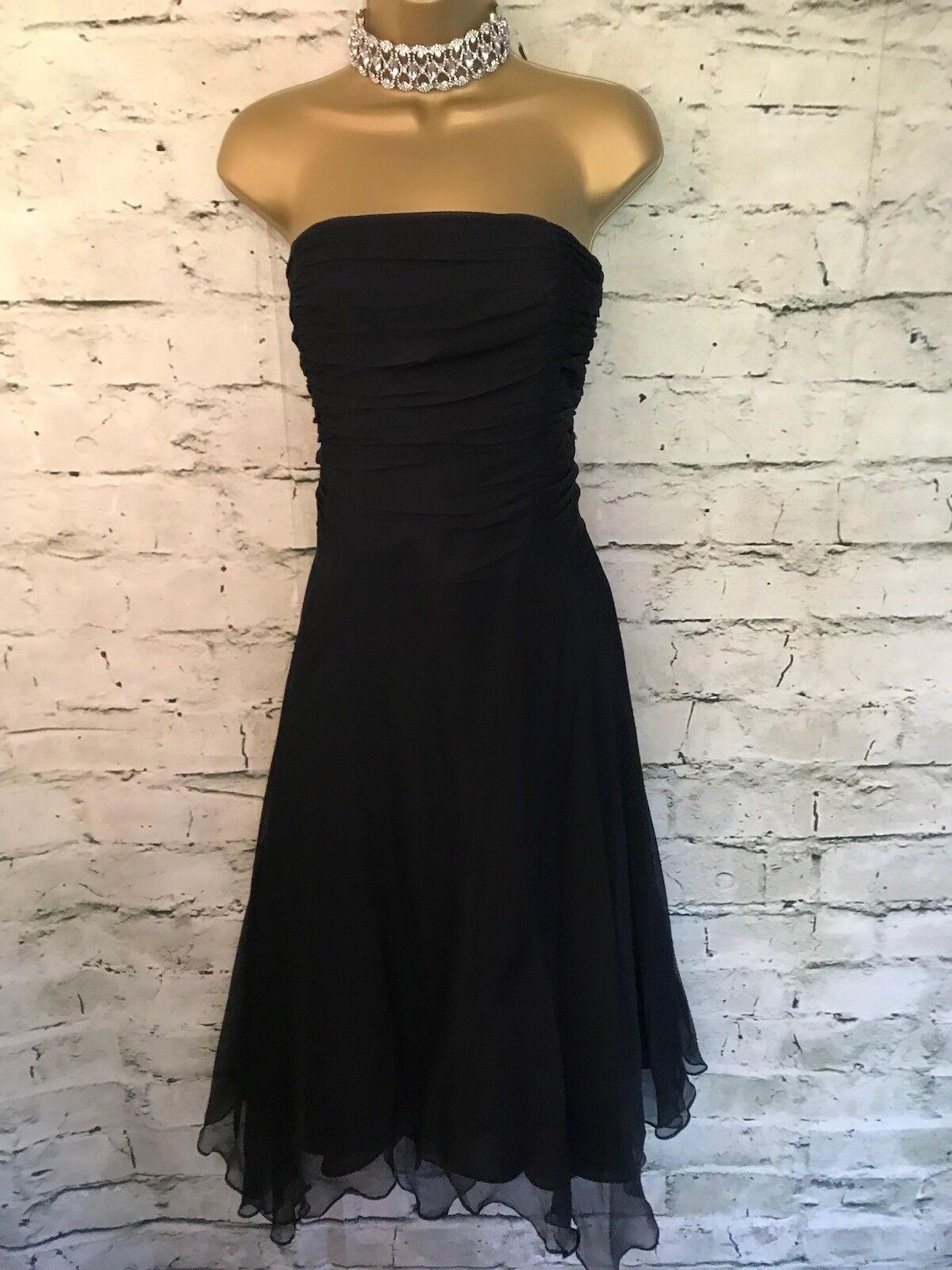 f59919bcb6c0e0 Monsoon Ladies schwarz schwarz schwarz Silk Floaty Evening Dress UK 18 EU  46 US 14 452c35