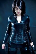 "L XL Steel boned Real leather Corset 28"" Selene Costume Underworld Cosplay Con"