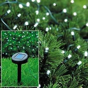 White String Garden Lights : 50 LED STRING LIGHTS SOLAR POWERED WHITE FAIRY LIGHTS GARDEN PARTY XMAS eBay