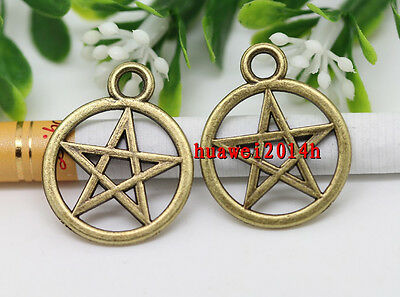 Wholesale lot 12/26pcs Retro Style Gothic wicca pentagram Charm pendant 25x20mm