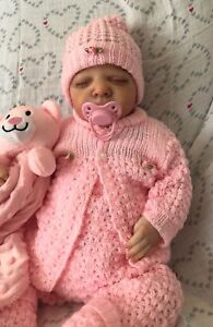 OH-SO-PRETTY-Knit-Baby-Doll-Outfit-For-Reborn-Infant-Newborn-PINK