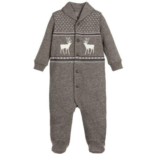 RALPH LAUREN baby boy footed BABYGROW grey w// Reindeer 3//6M 6//9M BNWT