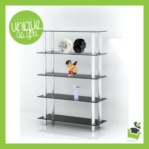 Image Is Loading 5 Tier Shelf Black Gl Stainless Steel