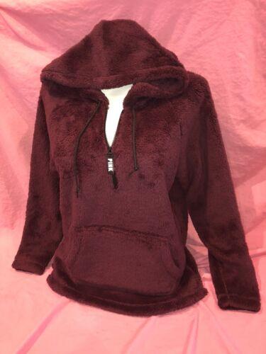 Victoria Secret Pink Sherpa Teddy half-zip Maroon Pullover Hoodie NWT Medium M