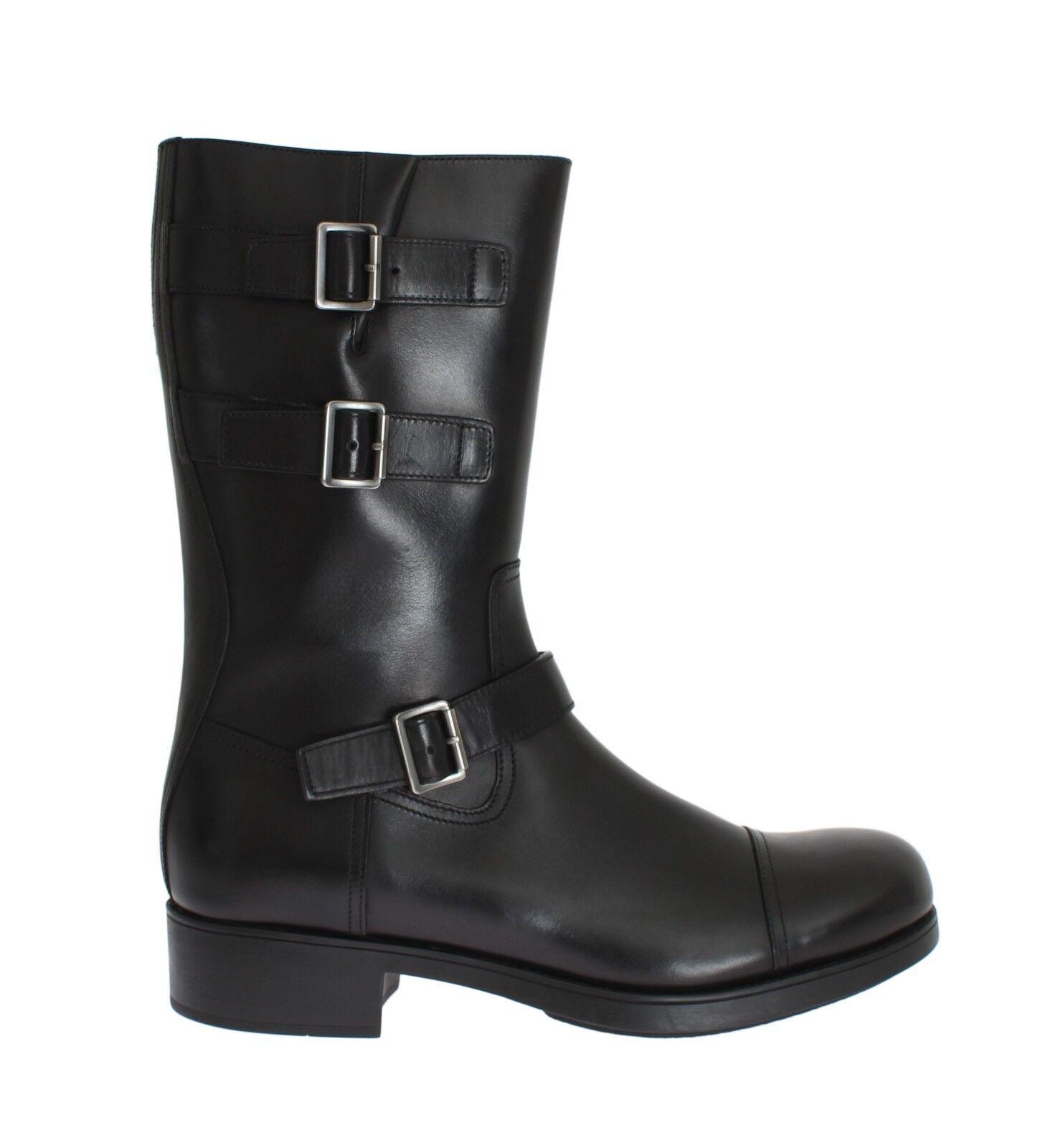Nuevas botas Zapatos de  PRADA Hebilla de Cuero Negro Para Hombre S. Vit Rodeo de EU43 US10