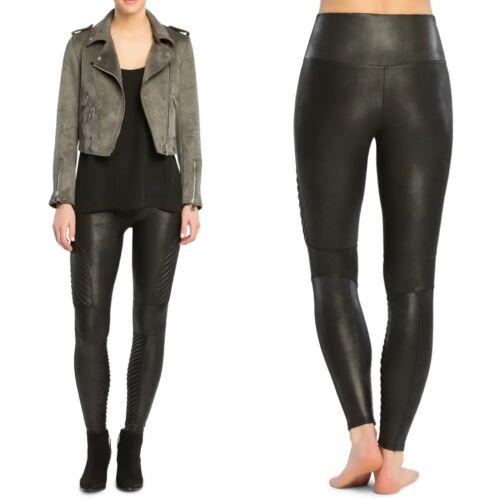 SPANX Faux Leather Moto Black Leggings Size M