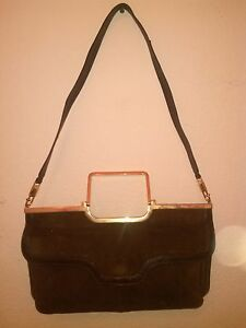Lady's Old W Very Bag Suede vintage gold Rare Trim