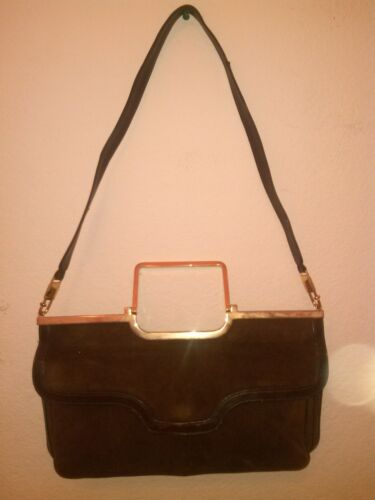 gold W Very Rare Old Suede Original Brown Trim Lady's Bag