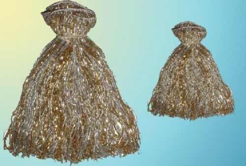 """SILVER /& GOLD BEADED BELLY  DANCE  FRINGE 40/"""" x 8/"""" /& 40/"""" x 4/"""""""