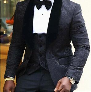 Image Is Loading Black Fl Mens Suits Wedding Groom Tuxedo Slim