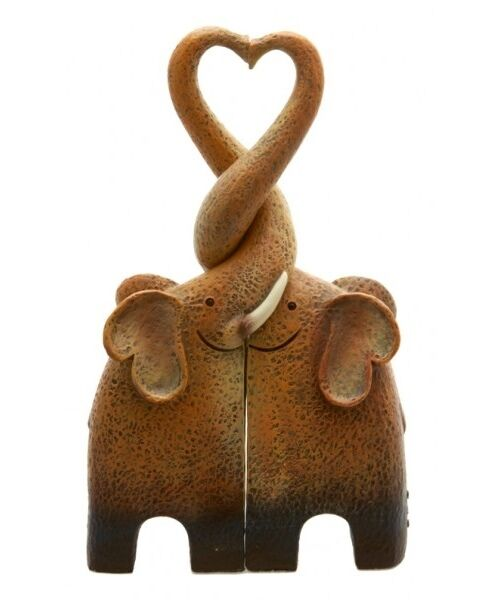 NEW Cute Entwined Kissing Elephant Statue Ornament