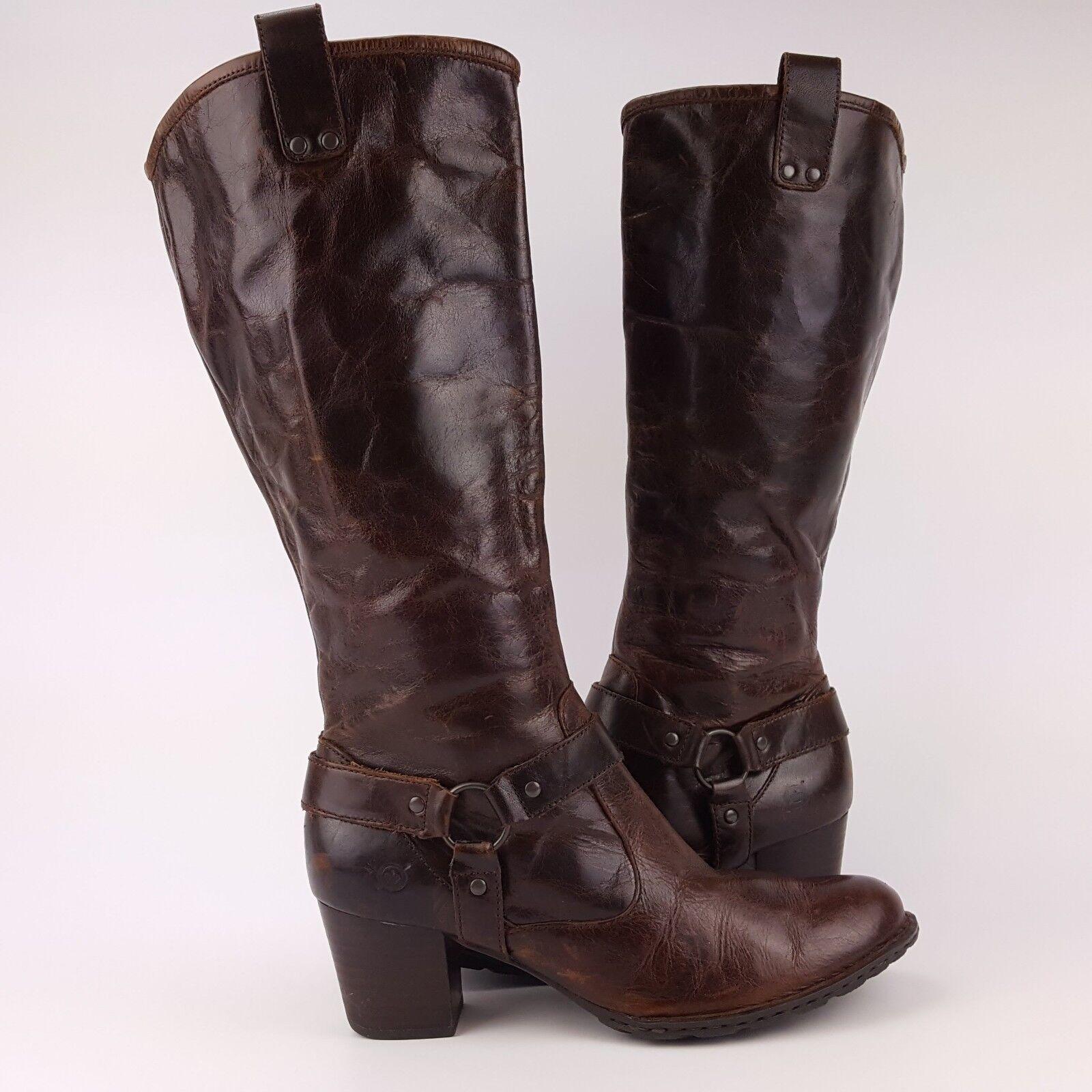 BORN Susanne Marronee Leather Harness Tall stivali Side Zip SZ 9   40.5 w62140