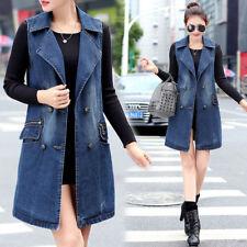 98693d07d674d7 Women s Vest Cowboy Denim Waistcoat Girl Sleeveless Long Coat Jeans Jacket  M-3XL