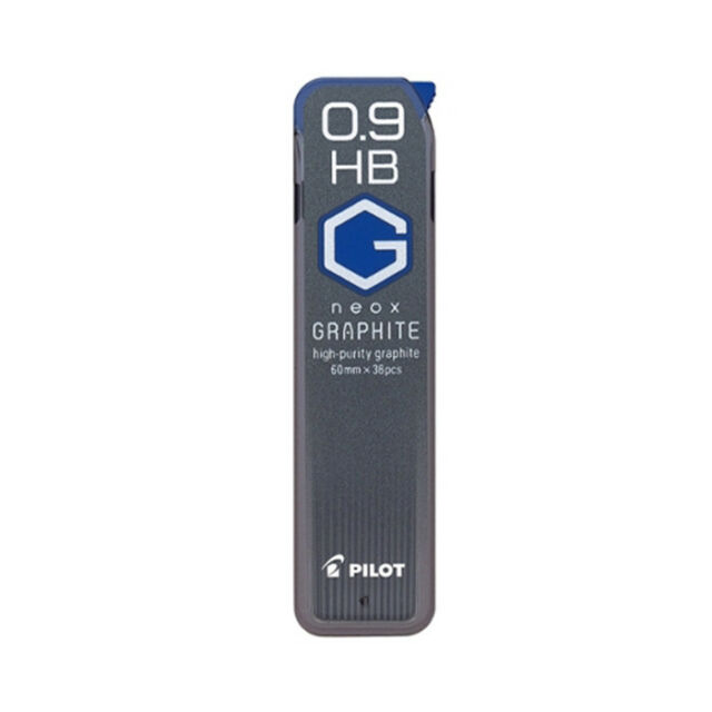 10 tubes Pilot neox GRAPHITE HRF9G-20-2B 0.9mm 2B Graphite Refill Leads