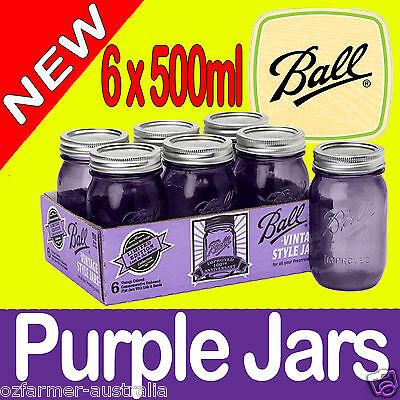 6 x Ball Mason Heritage Purple Pint 500ml Jars Weddings Candles Preserving