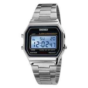 Men-Vintage-Classic-Stainless-Steel-Watch-Led-Digital-Waterproof-Wristwatch
