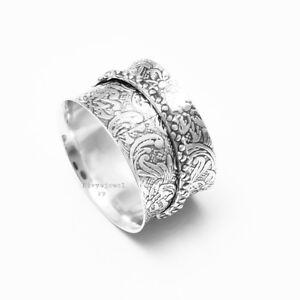 Solid-925-Sterling-Silver-Meditation-ring-statement-ring-Spinner-Ring-Size-sr416