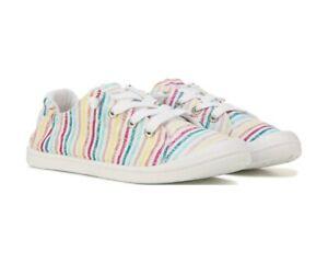 Roxy-Women-039-s-Bayshore-III-Shoes-Sneakers-White-Rainbow-Stripe-Size-8