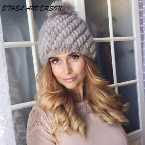 Real-Knitted-100-Mink-Fur-Hat-Cap-Winter-Lady-Girl-Hat-Warm-Xmas-Sale