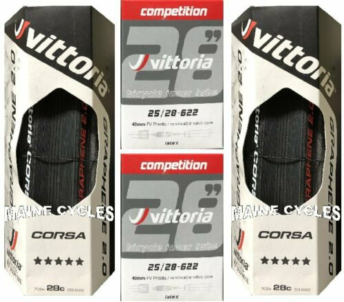 Vittoria Corsa G 2.0 Graphene fil 700 X 28 Noir//Tan avec latex Tubes
