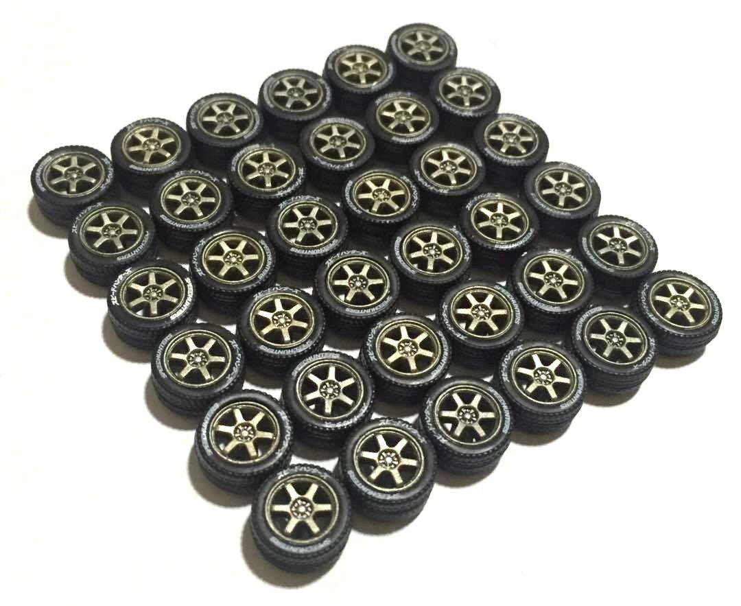 ventas al por mayor 1 64 Neumáticos De Goma Llantas Ejes-TE37 ajuste Kyosho Hot Hot Hot Wheels Mbx Diecast -9 conjuntos  Tienda de moda y compras online.
