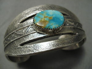 HEAVY-THICK-NAVAJO-ROYSTON-TURQUOISE-STERLING-SILVER-BRACELET