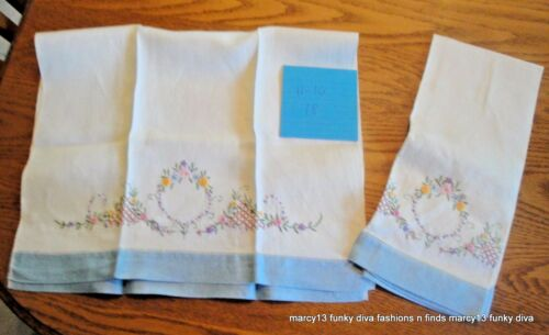 Sweet Pair Vintage Floral Motif Hand Embroidered Linen Kitchen Tea Towels