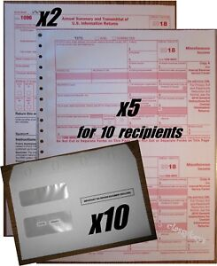 Details about 2018 IRS TAX FORMS KIT:: 1099-MISC Carbonless 10  recipients+10 envelopes+(2)1096