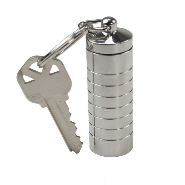 Heavy Duty Stainless Steel Keychain Pill Fob Medication Travel Container (Large)
