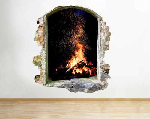 Wall Stickers Fire Flames Camp Living Hall Smashed Decal 3D Art Vinyl Room D086
