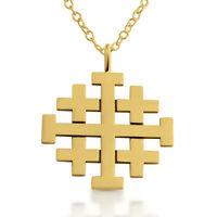 Jerusalem Cross Pendant Necklace 14k Gold Plated Sterling Silver Azaggi N0188g
