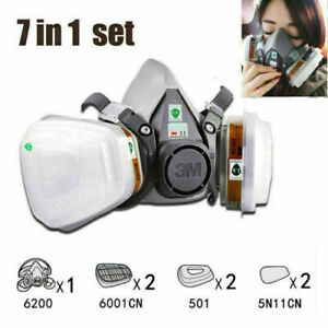 3M 6200/7502 Half Face Gas Safety Mask with 10 pcs filter respirator *