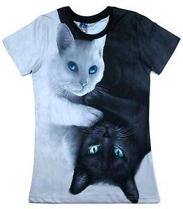 Noir-et-Blanc-Chats-T-Shirt-All-Over-graphique-d-039-impression-3d-chats-Cat-Lover-t-shirt