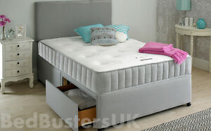 Image Is Loading Grey Fabric Divan Bed Set Memory Mattress Headboard