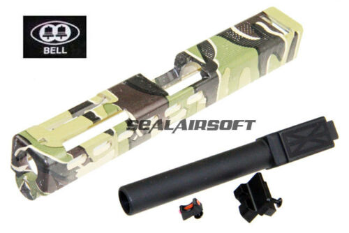 Black Barrel Type2 BELL Custom Slide ZEV Type For Marui G17 GBB Woodland Camo