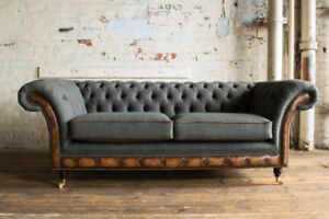Details about MODERN GREY WOOL & ANTIQUE TAN LEATHER 3 SEATER CHESTERFIELD  SOFA COUCH, SETTEE